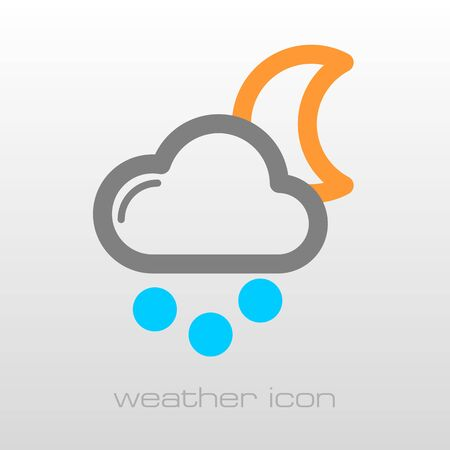 grain: Moon Cloud with Snow Grain outline icon. Sleep night dreams symbol. Meteorology. Weather. Vector illustration Illustration
