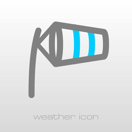 inflated: Windsocks inflated by wind at the airport runway. Meteorology. Weather. Vector illustration