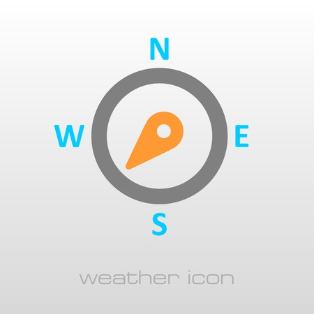 southwest: Compass wind rose outline icon. Direction southwest. Meteorology. Weather. Vector illustration