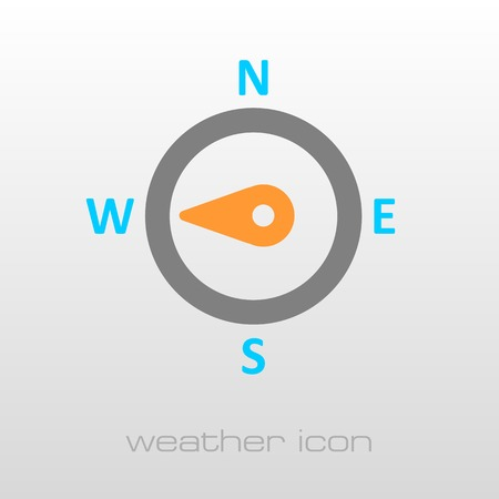 wind rose: Compass wind rose outline icon. Direction west. Meteorology. Weather. Vector illustration Illustration