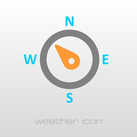 compass rose: Compass wind rose outline icon. Direction northwest. Meteorology. Weather. Vector illustration Illustration