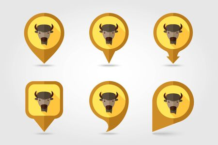 buffalo bison: Bison bull buffalo ox flat pin map icon. Map pointer. Map markers.