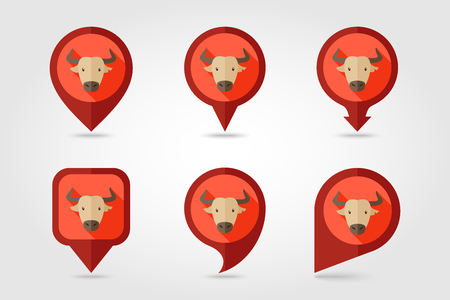 buffalo bison: Spanish bull bison buffalo ox flat pin map icon. Map pointer. Map markers. Animal horned head  symbol Illustration