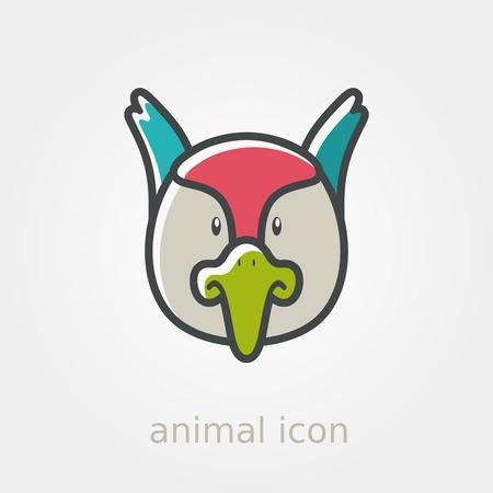 animal head: Pheasant flat icon. Animal head vector illustration, eps 10