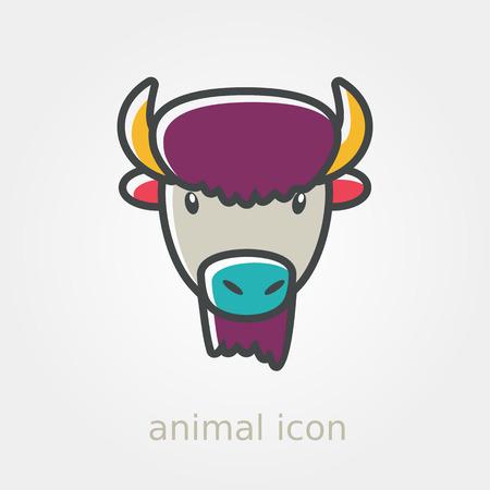 horned: Bison bull buffalo ox flat icon. Animal horned head vector symbol eps 10