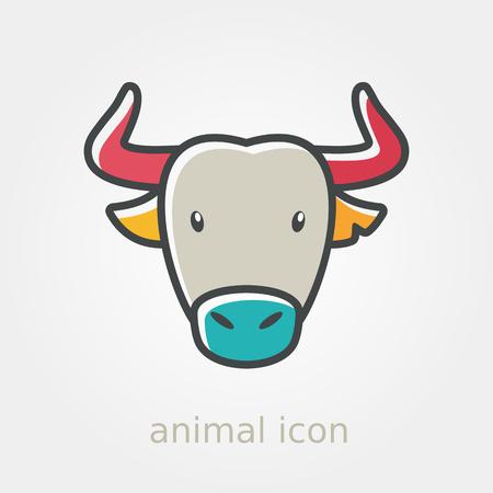 buffalo bison: Spanish bull bison buffalo ox flat icon. Animal horned head vector symbol eps 10