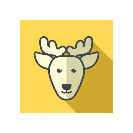 animal head: Deer flat icon. Animal head vector illustration, eps 10