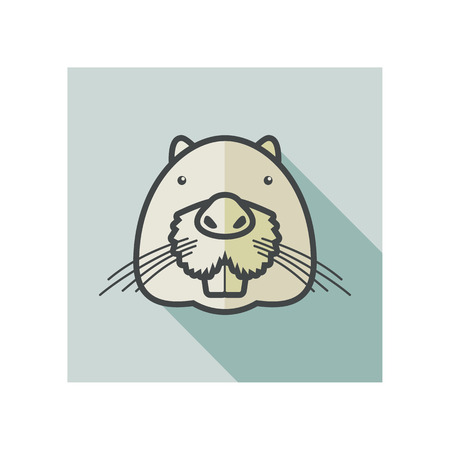 otter: Otter beaver flat icon. Animal head vector symbol eps 10