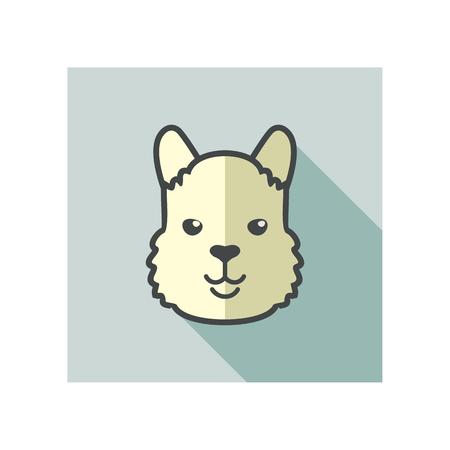 animal head: Lama alpaca guanaco flat icon. Animal head vector symbol eps 10