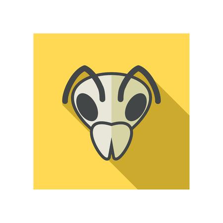 wasp: Bee wasp bumblebee flat icon. Animal head vector symbol eps 10