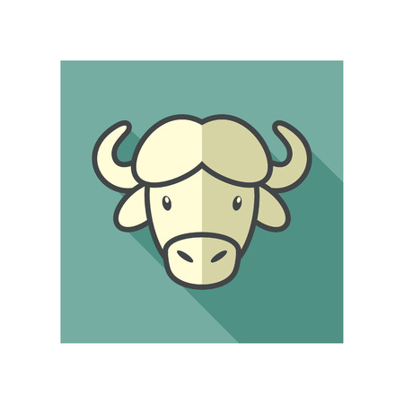 bison: Buffalo bull bison ox flat icon. Animal horned head vector symbol eps 10