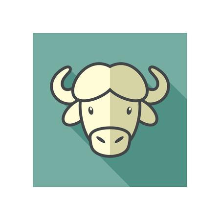 horned: Buffalo bull bison ox flat icon. Animal horned head vector symbol eps 10