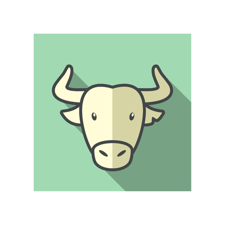 bullfight: Spanish bull bison buffalo ox flat icon. Animal horned head vector symbol eps 10