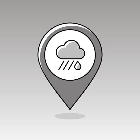 rainfall: Rain Cloud outline pin map icon. Map pointer. Map markers. Downpour, rainfall. Weather. Vector illustration eps 10