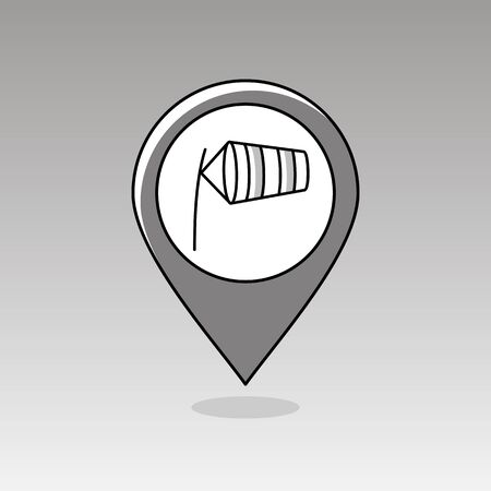 inflated: Windsocks inflated by wind at the airport runway pin map icon. Map pointer. Map markers. Meteorology. Weather. Vector illustration eps 10 Illustration
