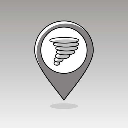 hurricane disaster: Tornado Whirlwind outline pin map icon. Map pointer. Map markers. Meteorology. Weather. Vector illustration eps 10