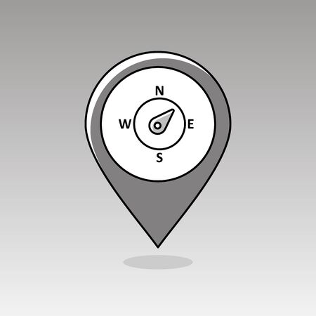 northeast: Compass wind rose outline pin map icon. Map pointer. Map markers. Direction northeast. Meteorology. Weather. Vector illustration eps 10