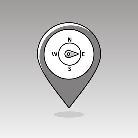 compass rose: Compass wind rose outline pin map icon. Map pointer. Map markers. Direction east. Meteorology. Weather. Vector illustration eps 10