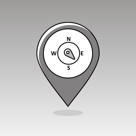 southeast: Compass wind rose outline pin map icon. Map pointer. Map markers. Direction southeast. Meteorology. Weather. Vector illustration eps 10