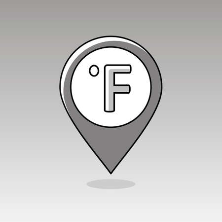 fahrenheit: Degrees Fahrenheit outline pin map icon. Map pointer. Map markers. Meteorology. Weather. Vector illustration eps 10
