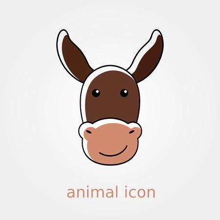 jackass: Donkey icon. Farm animal vector illustration, Illustration