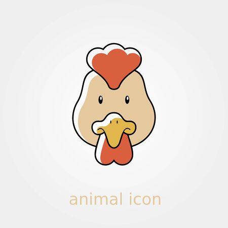 animal head: Chicken flat icon. Animal head vector illustration,