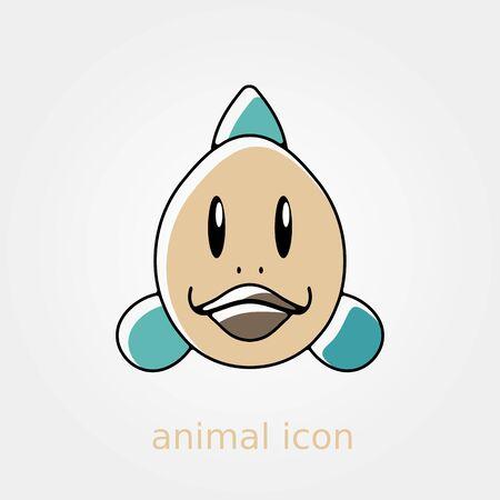 animal head: Fish flat icon. Animal head vector illustration,