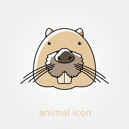 animal head: Otter beaver flat icon. Animal head vector symbol