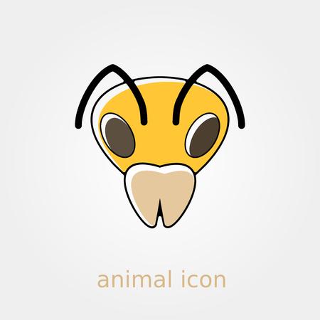 animal head: Bee wasp bumblebee flat icon. Animal head vector symbol