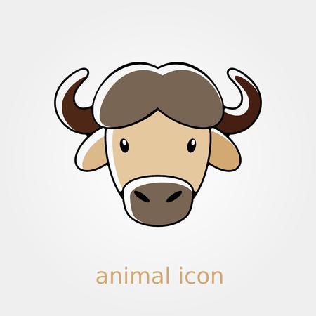 buffalo bison: Buffalo bull bison ox flat icon. Animal horned head vector symbol Illustration