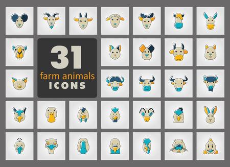 farm animals icons: Set of farm animals icons. Vector head outline thin illustration. Illustration
