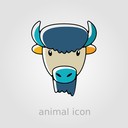 animal head: Bison bull buffalo ox flat icon. Animal horned head vector symbol eps 10