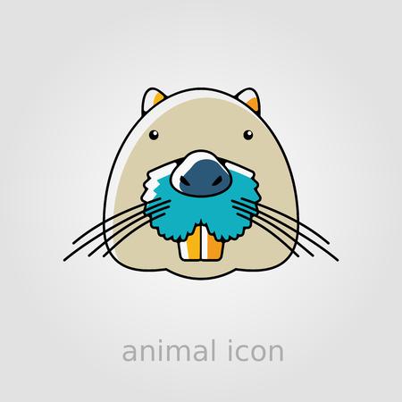 otter: Otter beaver flat icon. Animal head vector symbol
