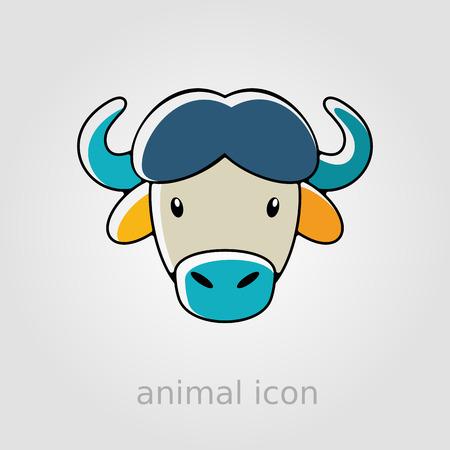 animal head: Buffalo bull bison ox flat icon. Animal horned head vector symbol Illustration