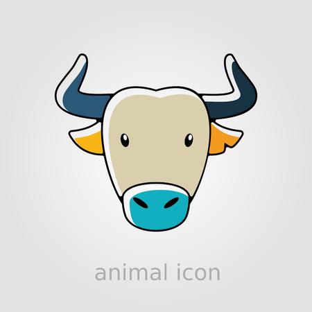horned: Spanish bull bison buffalo ox flat icon. Animal horned head vector symbol Illustration