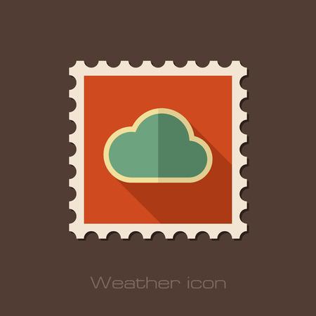 meteorology: Cloud flat stamp. Meteorology. Weather. Vector illustration eps 10