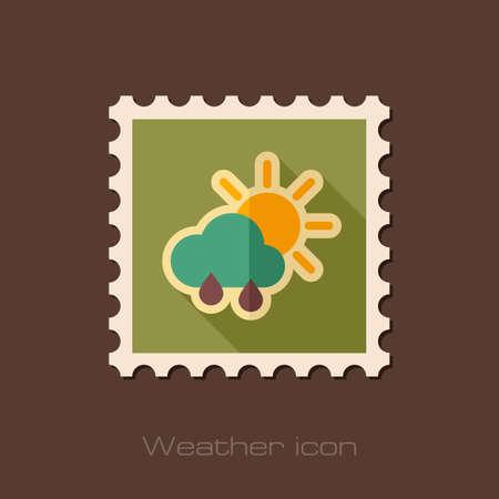 Sun with Rain Cloud flat stamp. Meteorology. Weather. Vector illustration