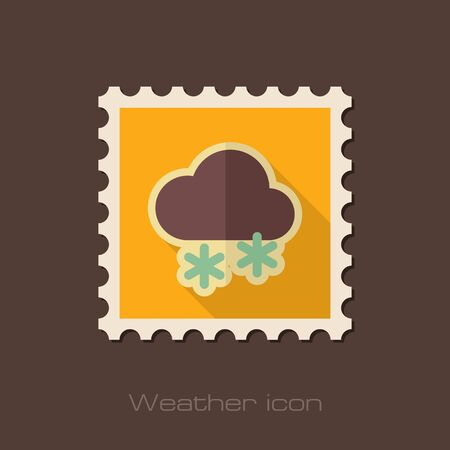 meteorology: Cloud with Snow flat stamp. Meteorology. Weather. Vector illustration eps 10