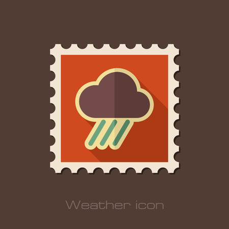 rainfall: RRain Cloud flat stamp. Downpour, rainfall. Weather. Vector illustration