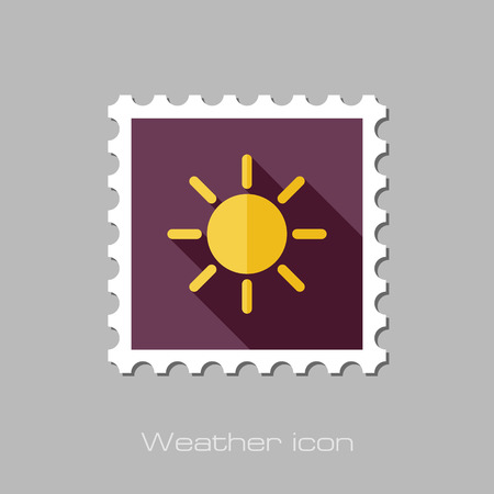 meteorology: Sun flat stamp. Meteorology. Weather. Vector illustration
