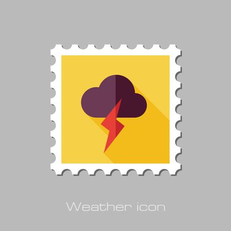 meteorology: Cloud Lightning flat stamp. Meteorology. Weather. Vector illustration