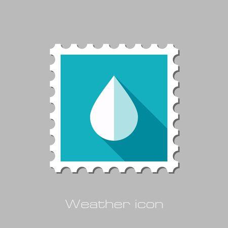 waterdrops: Water Rain Drop flat stamp. Meteorology. Weather. Vector illustration