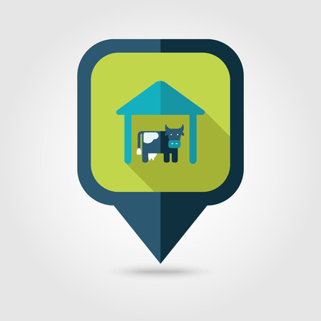 barn wood: Cowshed flat pin map icon. Map pointer. Map markers. Farm. Field. Vector illustration