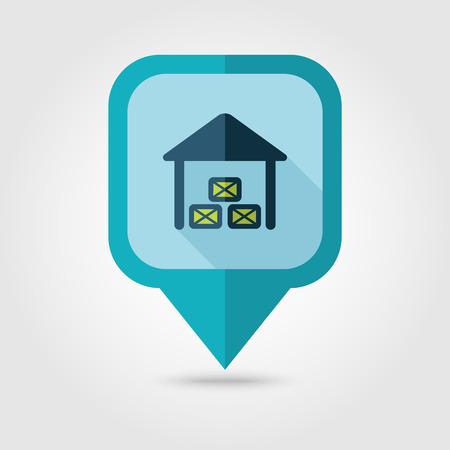 shed: Shed flat pin map icon. Map pointer. Map markers. Farm. Field. Vector illustration