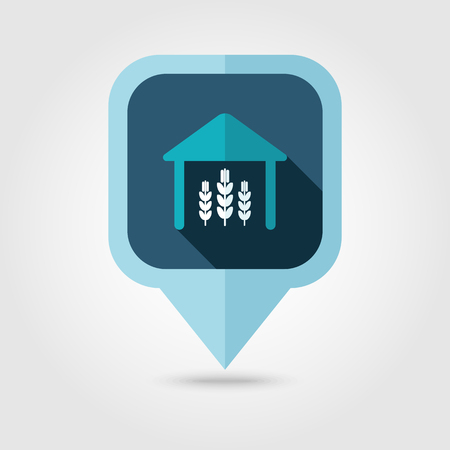shed: Barn flat pin map icon. Map pointer. Map markers. Farm. Field. Harvest. Vector illustration Illustration