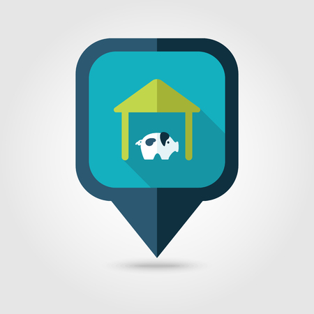 pigsty: Pigsty flat pin map icon. Map pointer. Map markers. Farm. Field. Vector illustration
