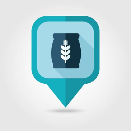 grain: Sack of grain flat pin map icon. Map pointer. Map markers. Farm. Field. Harvest. Vector illustration