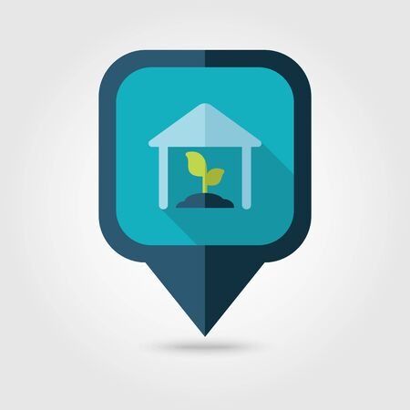 granary: Greenhouse flat pin map icon. Map pointer. Map markers. Farm. Field. Vector illustration Illustration