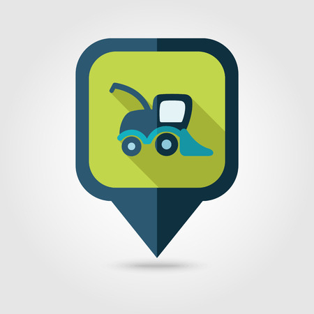 combine harvester: Combine harvester flat pin map icon. Map pointer. Map markers. Farm. Field. Transport. Vector illustration