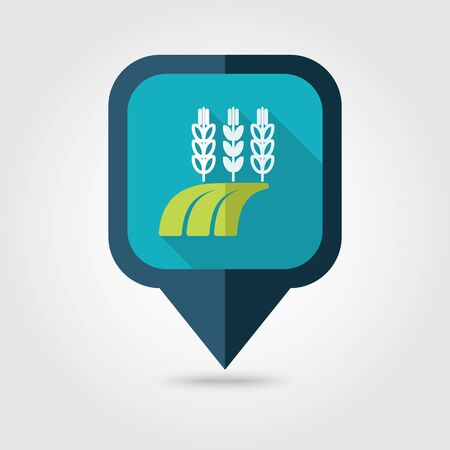 barley field: Ears of Wheat, Barley or Rye on field flat pin map icon. Map pointer. Map markers. Farm. Field. Harvest. Vector illustration